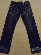 PRPS BARRACUDA Straight Metallic Creased Black Mens Jeans 34 x 33.5 Orig $275+