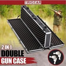 Double 2 X GUN CASE ALUMINIUM DOUBLE HUNTING RIFLE SHOT GUN PORTABLE CARRY BOX