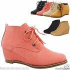 New Women Fashion Casual Lace Up Ankle Booties Hidden Wedge Heel Boots Shoes