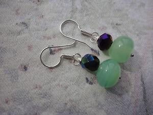 Silver-plated green aventurine facet AB glass 35mm drop 5 gram pierced earrings