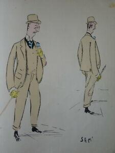 SEM (1863-1934) LITHO BELLE EPOQUE ART NOUVEAU CARICATURE HOMME DANDY MODE a