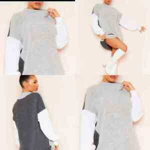 Women Ladies Grey Colour block Ribbed Autumn Knitted High neck Jumper Dress