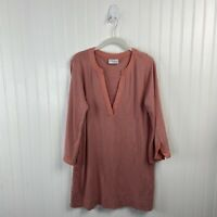 Soft Surroundings Tunic Top Small Women V-neck 3/4 Sleeve Salmon Solid 25413