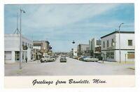 1950's BAUDETTE MN MAIN STREET DOWNTOWN CARS VINTAGE POSTCARD MINNESOTA TRUCK !!