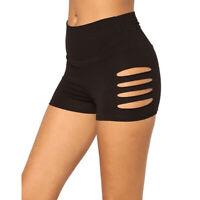 Women High Waist Hole Yoga Shorts Skinny Sport Gym Running Elastic Short Pants H