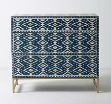 New Indian Ikat Inlay Three Drawer Dresser Navy Blue And Black Color Epoxy Resin