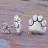 .925 sterling silver 925 DOG PUPPY PAW PRINT EARRINGS HypoAllergenic Post Stud