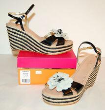 New $258 kate spade New York Darling Wedge Platform Sandal Black Patent Leather