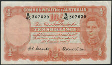 1952 Banknote Cmwlth of Australia 10 Shilling P25d gVF  TMM*