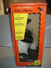 Rennco Halloween Lighted Animated Witch With Cauldon