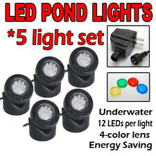 SUBMERSIBLE 5 LED POND LIGHT SET FOR UNDERWATER FOUNTAIN FISH POND FREE SENSOR