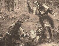 Seeking Wounded After Battle night scene Civil War 1862 historical print