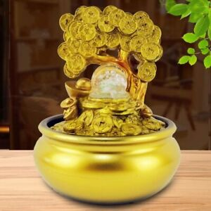 Gold Money Tree Water Fountain Ornaments Home Lucky Office Room Decoration Gifts