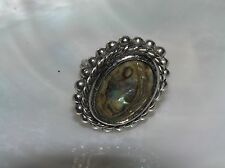 Vintage Large Oval Abalone in Silvertone Rope Bead Frame Adjustable Ring –