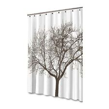 Splash Home Tree White & Chocolate Brown Tree Branches Fabric Shower Curtain NEW