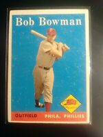 1958 Topps #415 Bob Bowman Phillies Ex (no creases)