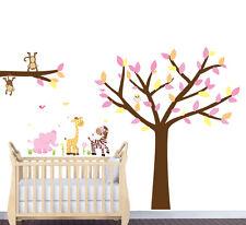 Safari Animal Tree Decal, Girl Room Animals Sticker, Nursery Tree Mural, Animals