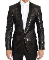 DOLCE & GABBANA Blazer Jacket Black Sequined Slim MARTINI IT48/US38/ M RRP $3600