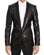 DOLCE & GABBANA Blazer Jacket Black Sequined Slim MARTINI IT44/US34/XS RRP $3600
