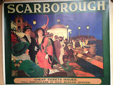 Old railway Poster Scarborough NER Vintage Travel Poster by J F Woolrich. c1910