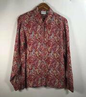 Vintage Liz Claiborne Liz Wear Women's Size M Paisley Shirt 100% Rayon