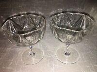Vintage Webb Corbett Cut Glass Crystal Pair Art Deco Champagne Saucers Glasses