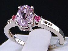 1.22cts Minas Gerais Kunzite w/Tourmaline & Diamonds 10k White Gold Ring Size 7