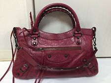 Authentic BALENCIAGA First Handbag Crimson Red F/W 2009 Classic Stud Bag