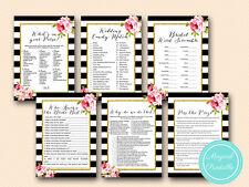 Print Yourself Black Stripes Floral Bridal Shower Games BS10