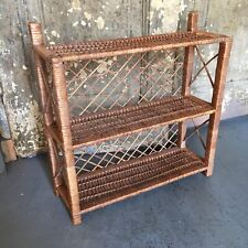 Vintage 3 Tier Wicker Wall Shelf Rattan Knick Nack
