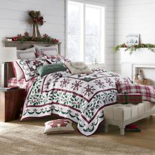 Christmas Farmhouse Holidays Snowflakes 100% Cotton King Quilt & Shams