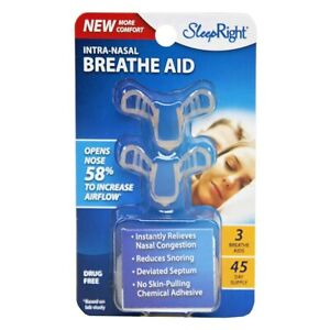 SleepRight Intra-Nasal Breathe Aid 3pk (45 Day Supply) Reduce Snoring Opens Nose