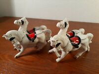 White Porcelain Carriage Miniature Horses Vintage Figurines