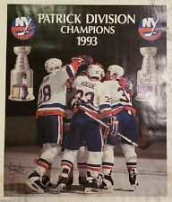 New York Islanders Bryan Trottier Autographed Poster 1993 Patrick Division Champ