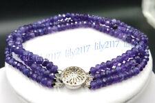 3 Rows 2x4mm Natural Purple Amethyst Gems Faceted Rondelle Beads Bracelet 7.5''