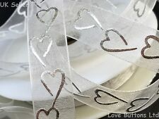 WHITE & SILVER HEART PRINT 15mm SHEER ORGANZA RIBBON 20M ROLL VALENTINE WEDDING