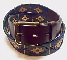 """""""Merlo"""" 100% Argentine Embroidered Leather Polo Belt - Green/Blue"""