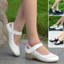 New Womens Nurse Leather Wedge Mid Heels Work Shoes Occupational Nursing Shoes