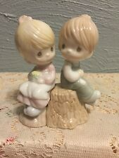 "Precious Moments   ""BOY/GIRL ON STUMP SALT AND PEPPER SHAKERS"".   #357308"