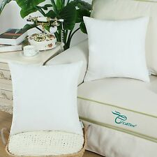 2pcs Square Pillows Cushion Covers Shell Heavy Faux Suede 45cmx45cm White