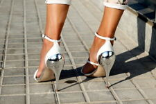 ZARA WHITE SILVER  HEELS SANDALS WITH ANKLE STRAP SHOES REF 2409 / 301 / 001
