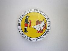 Vintage Betterwear Products Junior Firefighters Metal Pin Badge  c:1950''s