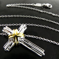 B167 GENUINE REAL 925 STERLING SILVER SF GOLD STYLE CROSS PENDANT NECKLACE CHAIN