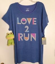 Tek Gear Dry Tek Plus Size 1X NWT Graphic Blue LOVE 2 RUN SS Tee Top