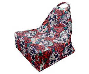 Bean Bag Chair, Skull and Roses Print, Unique Design, Full Print, Made in EU