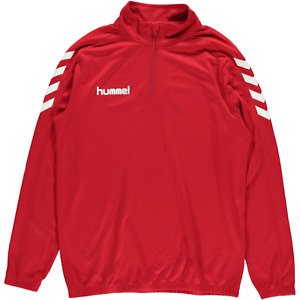 (M) Hummel Core Lightweight Zip Neck Sweat Top Red
