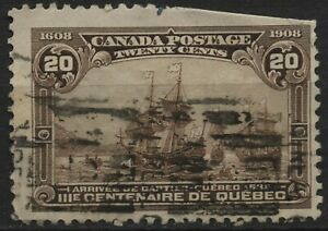 Canada 1908 #103 20c brown Cartier's arrival, Quebec Tercentenary, used cut perf