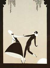 """ORIGINALE VINTAGE Erte Art Deco Print """"PAS De Deux"""" FASHION BOOK Piastra"""