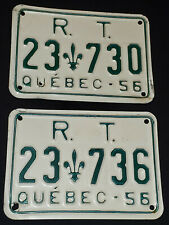 1956 R.T. REGIE DES TRANSPORT QUEBEC LICENSE PLATES (2) 23-730 + 23-736 ORIGINAL
