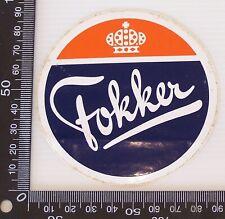 VINTAGE FOKKER COMPANY LOGO AIRCRAFT SOUVENIR AIRLINE PROMOTIONAL STICKER